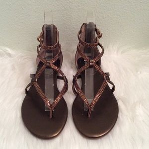 White House Black Market gladiator bronze sandals.